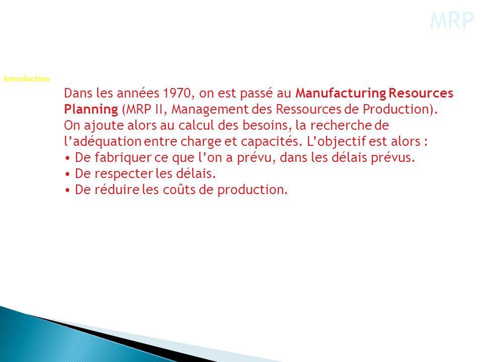 Dans les années 1970, on est passé au Manufacturing Resources Planning (MRP II, Management des Ressources de Production). On ajoute alors au calcul de