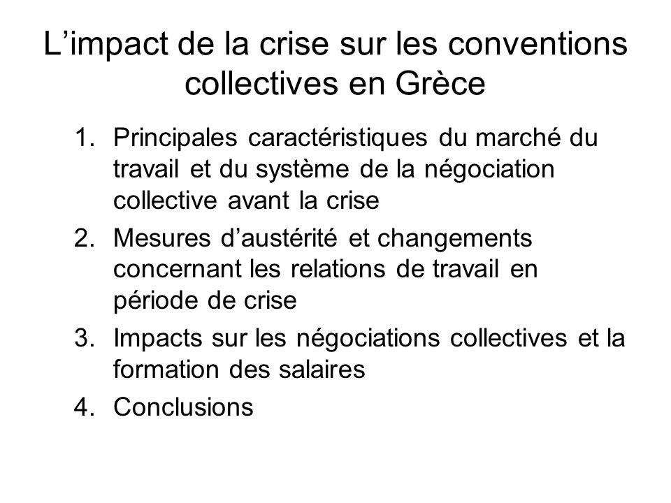 Limpact de la crise sur les conventions collectives en Grèce 1.Principales caractéristiques du marché du travail et du système de la négociation colle