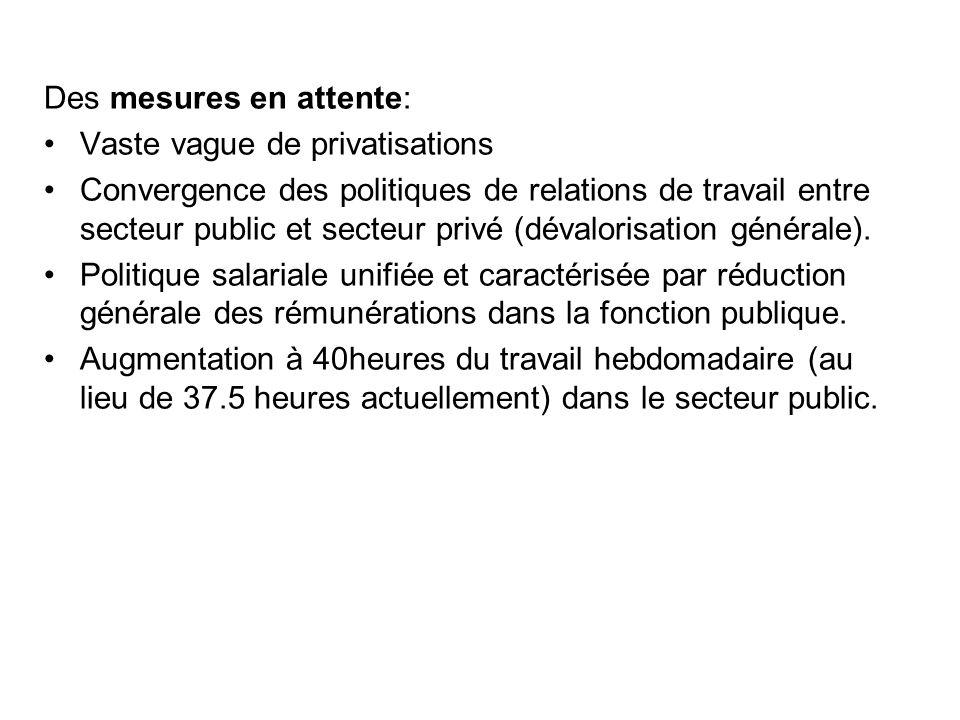 Des mesures en attente: Vaste vague de privatisations Convergence des politiques de relations de travail entre secteur public et secteur privé (dévalorisation générale).
