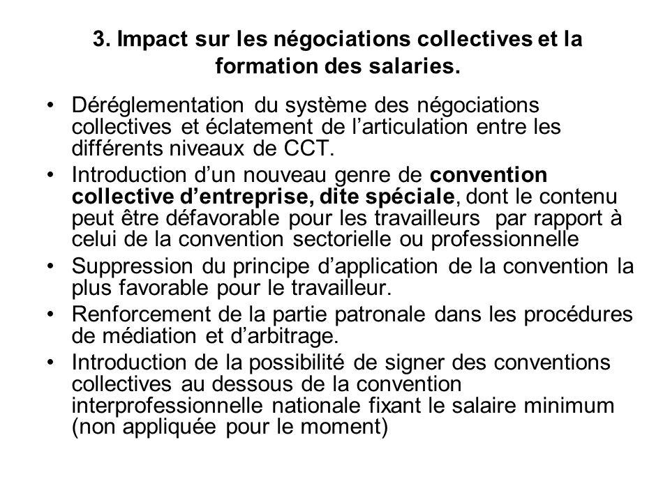 3. Impact sur les négociations collectives et la formation des salaries. Déréglementation du système des négociations collectives et éclatement de lar