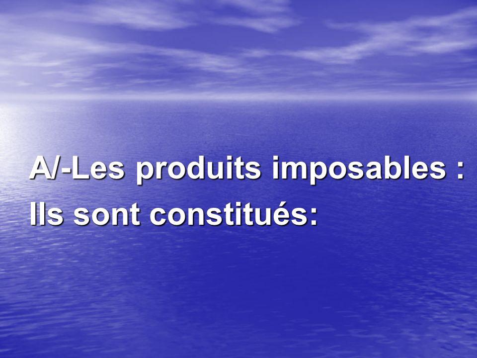 A/-Les produits imposables : Ils sont constitués: