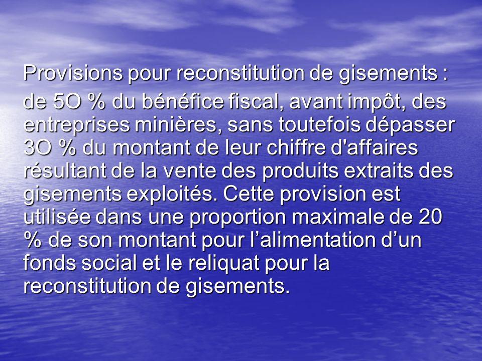 Provisions pour reconstitution de gisements : Provisions pour reconstitution de gisements : de 5O % du bénéfice fiscal, avant impôt, des entreprises m