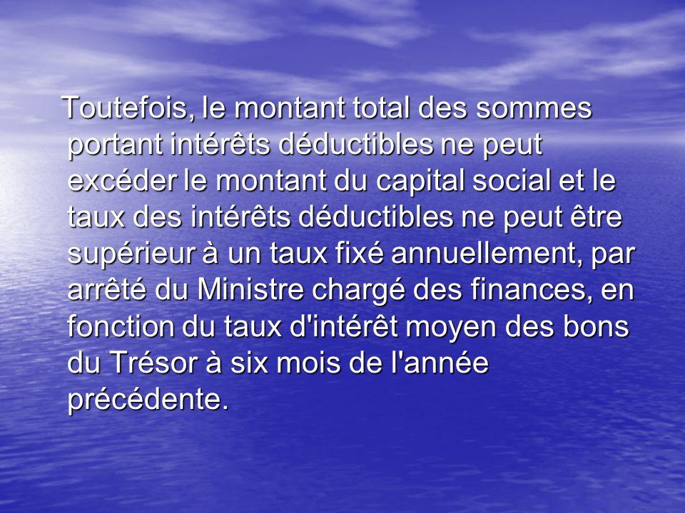 Toutefois, le montant total des sommes portant intérêts déductibles ne peut excéder le montant du capital social et le taux des intérêts déductibles n