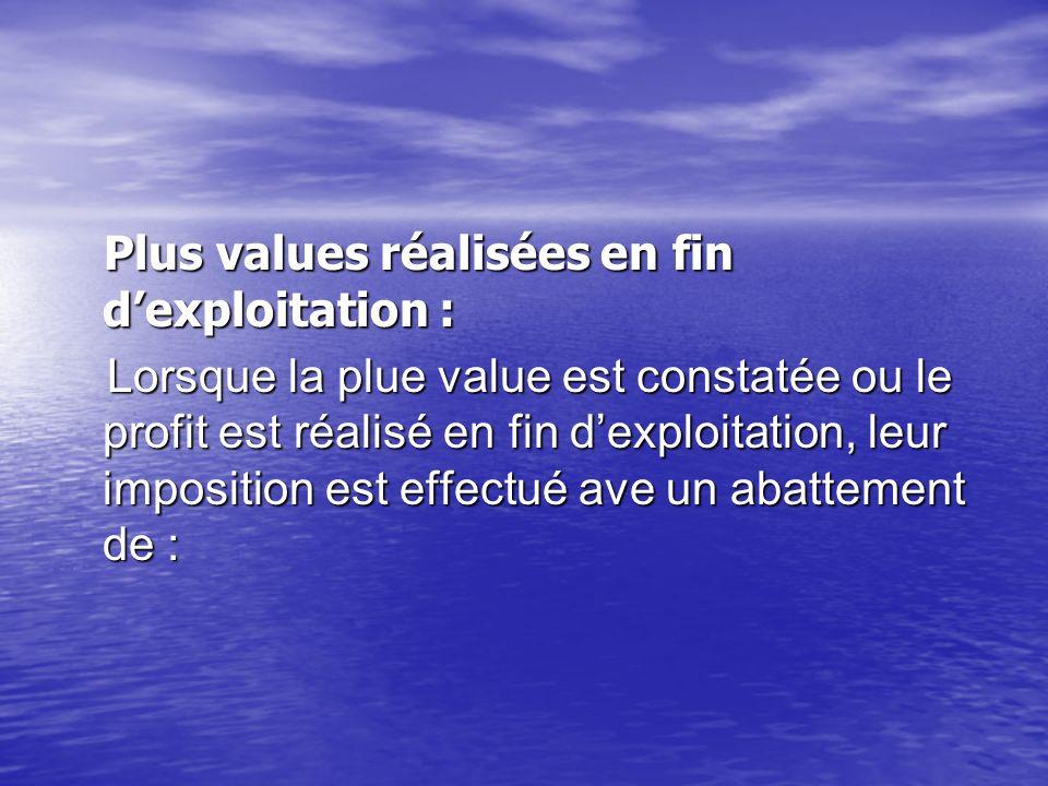 Plus values réalisées en fin dexploitation : Plus values réalisées en fin dexploitation : Lorsque la plue value est constatée ou le profit est réalisé