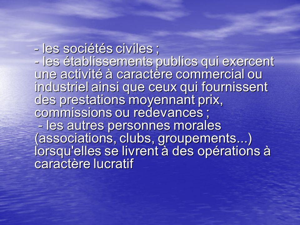 - les sociétés civiles ; - les établissements publics qui exercent une activité à caractère commercial ou industriel ainsi que ceux qui fournissent de