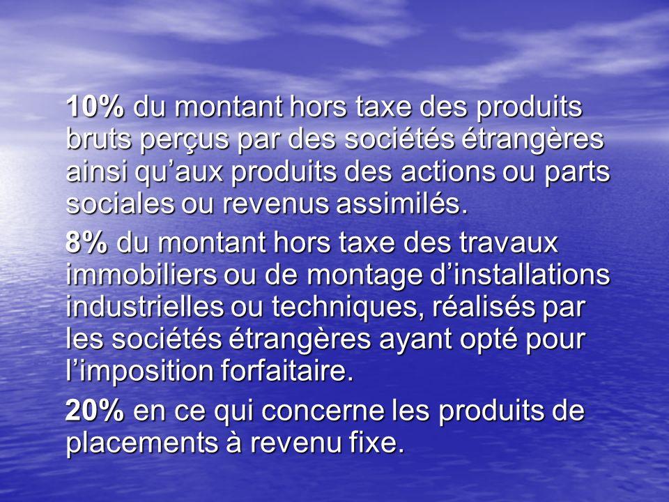 10% du montant hors taxe des produits bruts perçus par des sociétés étrangères ainsi quaux produits des actions ou parts sociales ou revenus assimilés