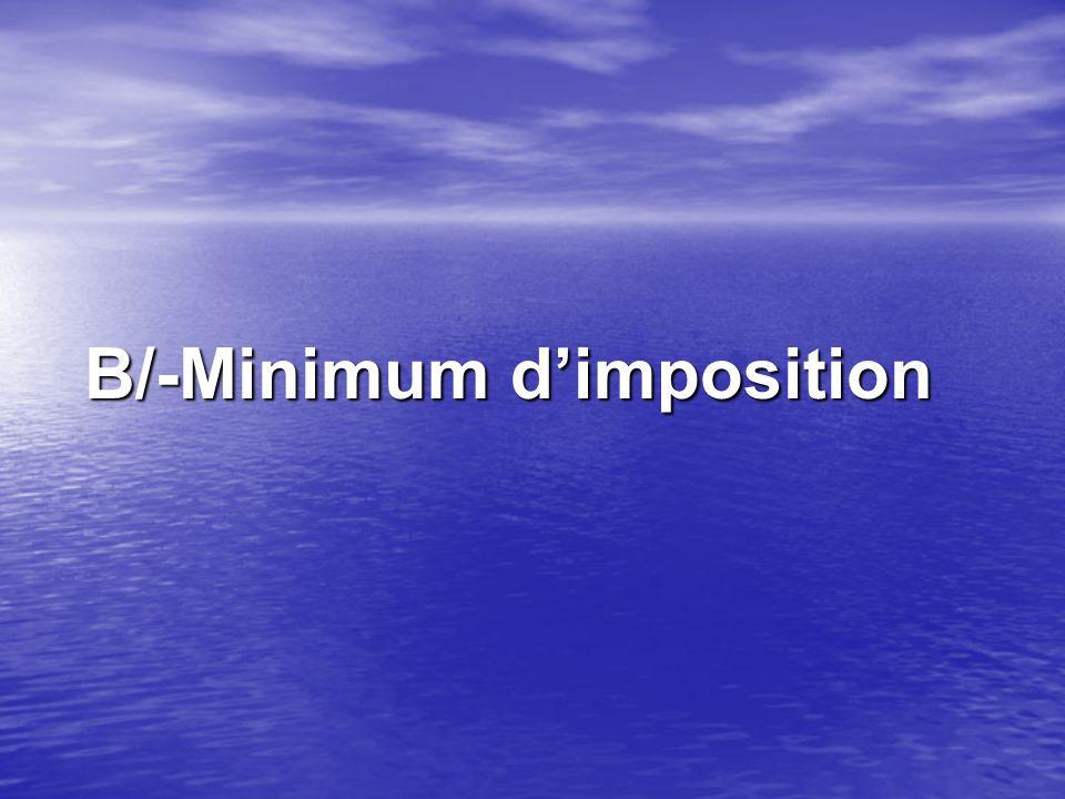 B/-Minimum dimposition B/-Minimum dimposition