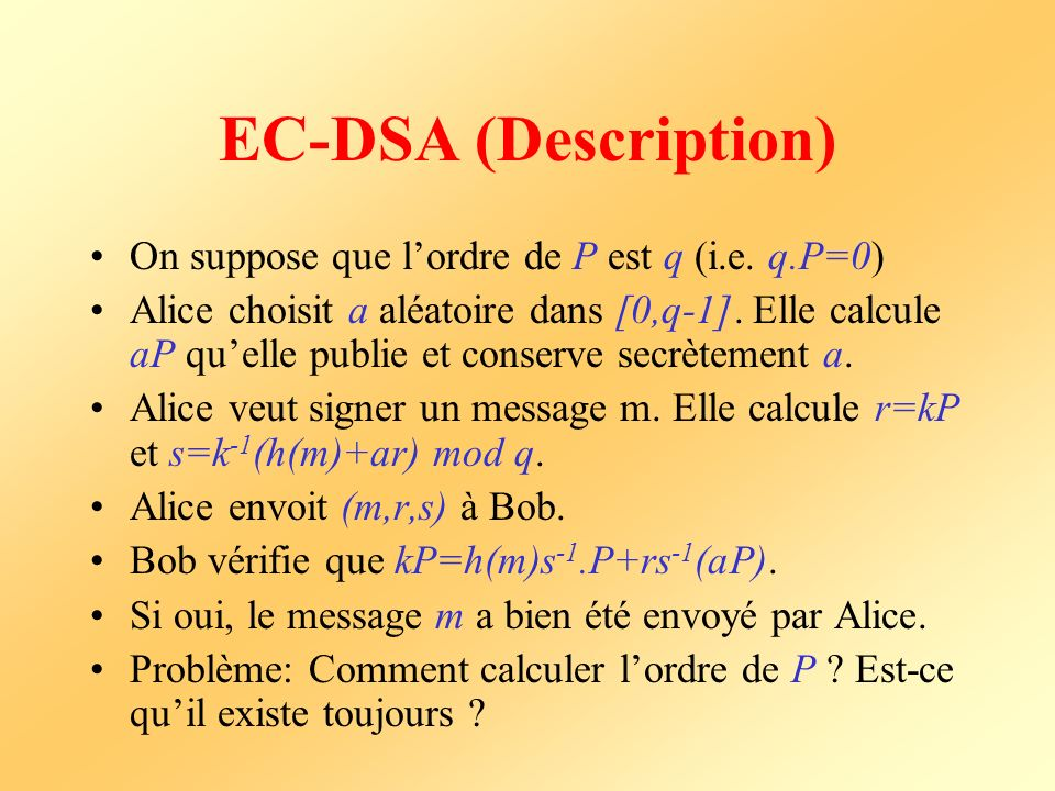 EC-DSA (Description) On suppose que lordre de P est q (i.e.
