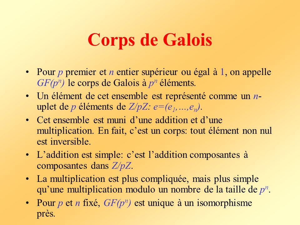 Corps de Galois Pour p premier et n entier supérieur ou égal à 1, on appelle GF(p n ) le corps de Galois à p n éléments. Un élément de cet ensemble es