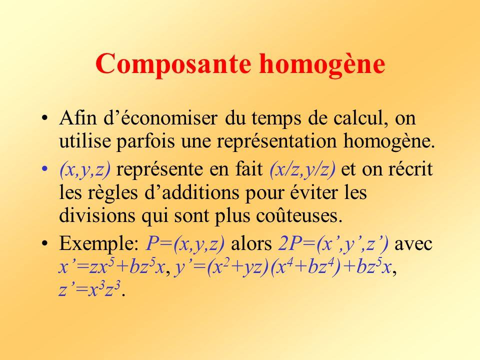 Composante homogène Afin déconomiser du temps de calcul, on utilise parfois une représentation homogène. (x,y,z) représente en fait (x/z,y/z) et on ré