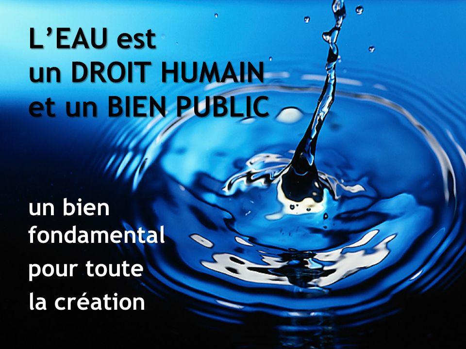 LEAU est un DROIT HUMAIN et un BIEN PUBLIC un bien fondamental pour toute la création