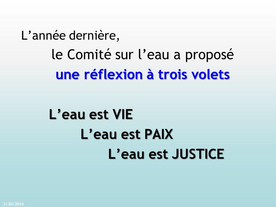Lannée dernière, le Comité sur leau a proposé une réflexion à trois volets Leau est VIE Leau est PAIX Leau est PAIX Leau est JUSTICE Leau est JUSTICE 3/30/2014