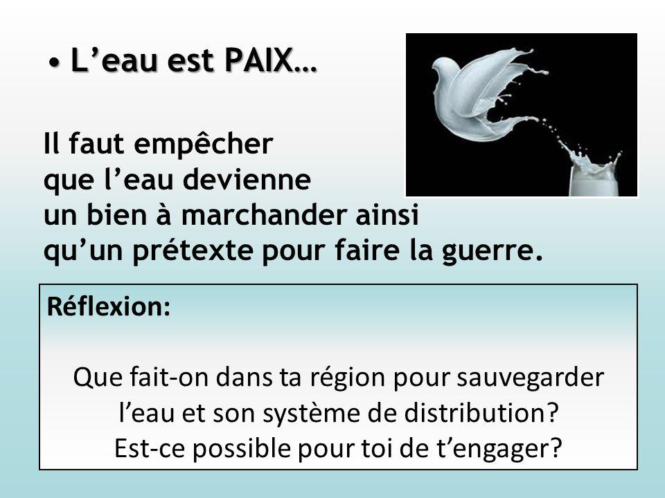 Leau est PAIX…Leau est PAIX… Il faut empêcher que leau devienne un bien à marchander ainsi quun prétexte pour faire la guerre.