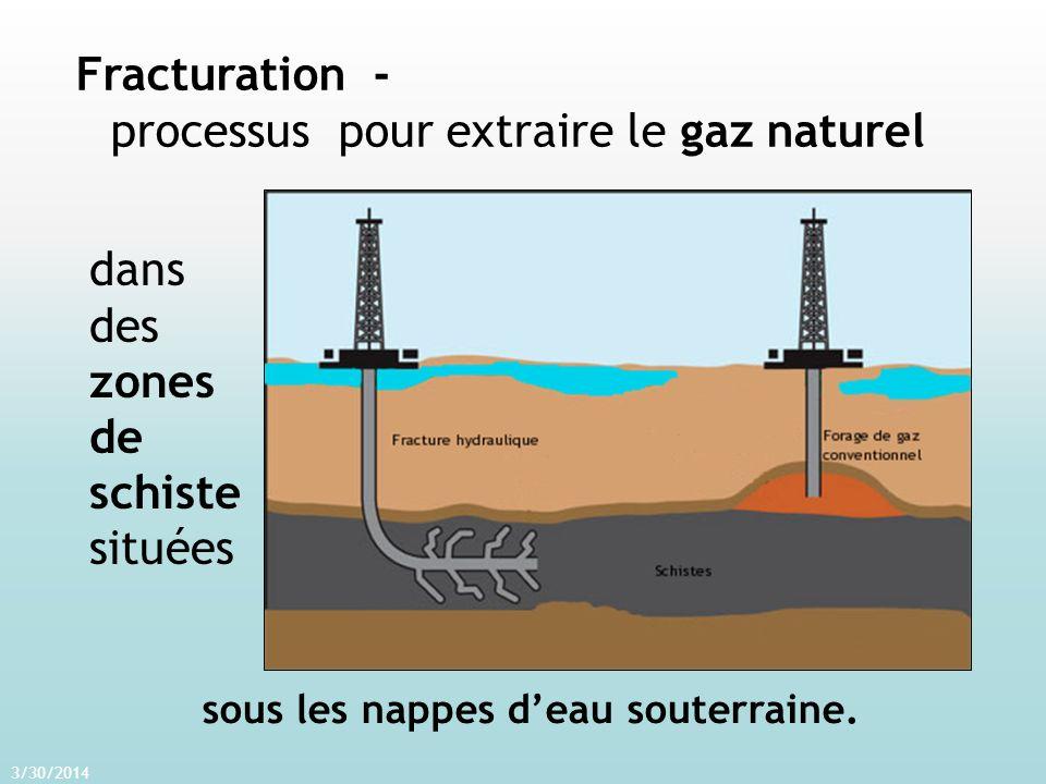 3/30/2014 Fracturation - processus pour extraire le gaz naturel dans des zones de schiste situées sous les nappes deau souterraine.
