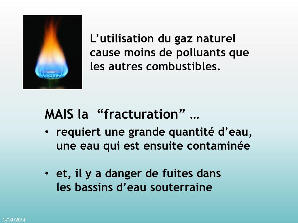 3/30/2014 MAIS la fracturation … requiert une grande quantité deau, une eau qui est ensuite contaminée et, il y a danger de fuites dans les bassins deau souterraine Lutilisation du gaz naturel cause moins de polluants que les autres combustibles.