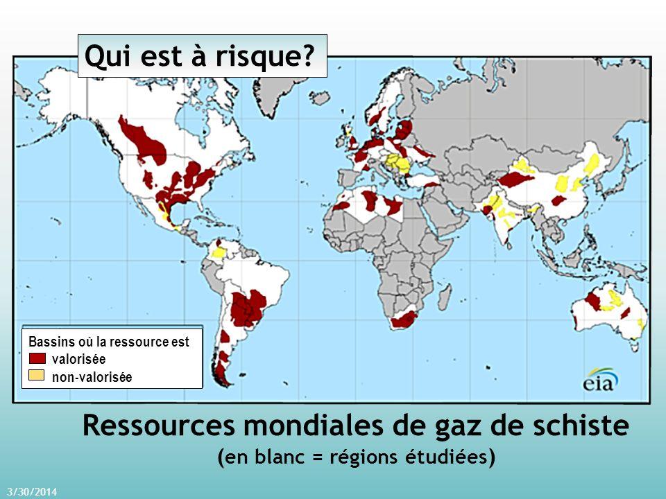 3/30/2014 Ressources mondiales de gaz de schiste ( en blanc = régions étudiées ) Bassins où la ressource est valorisée non-valorisée Qui est à risque?
