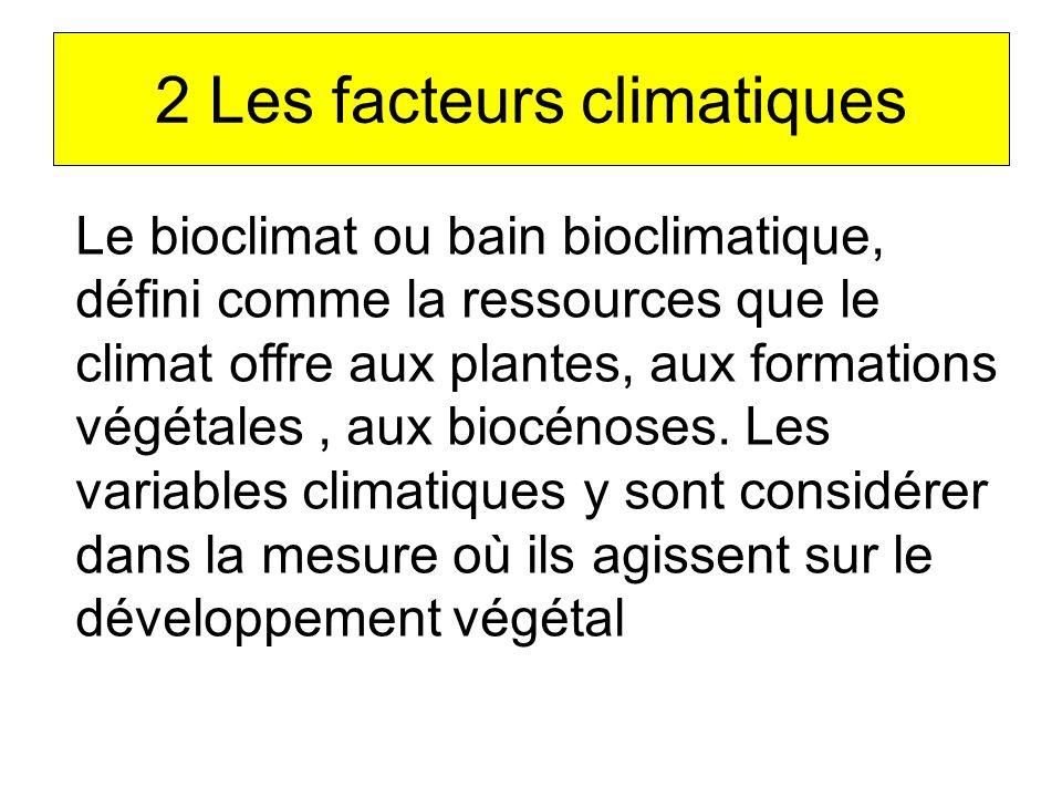 2 Les facteurs climatiques Le bioclimat ou bain bioclimatique, défini comme la ressources que le climat offre aux plantes, aux formations végétales, a