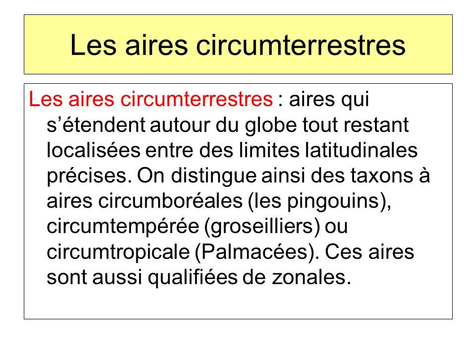 Les aires circumterrestres Les aires circumterrestres : aires qui sétendent autour du globe tout restant localisées entre des limites latitudinales pr