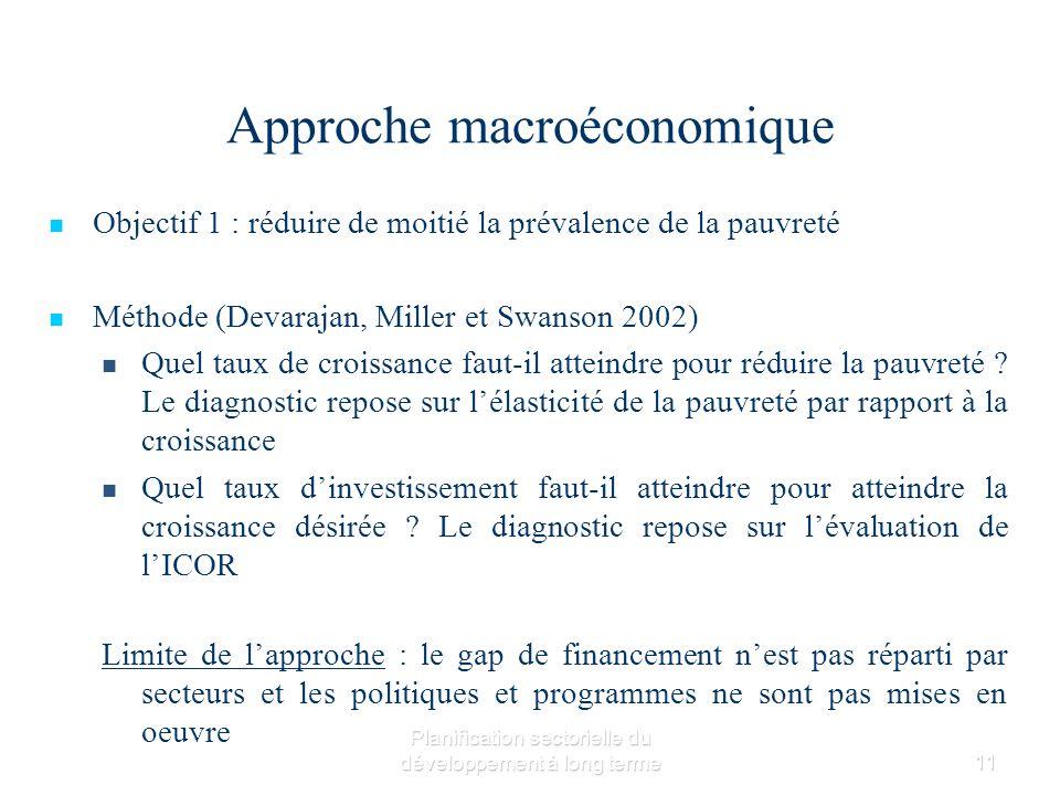 Planification sectorielle du développement à long terme11 Approche macroéconomique Objectif 1 : réduire de moitié la prévalence de la pauvreté Méthode (Devarajan, Miller et Swanson 2002) Quel taux de croissance faut-il atteindre pour réduire la pauvreté .