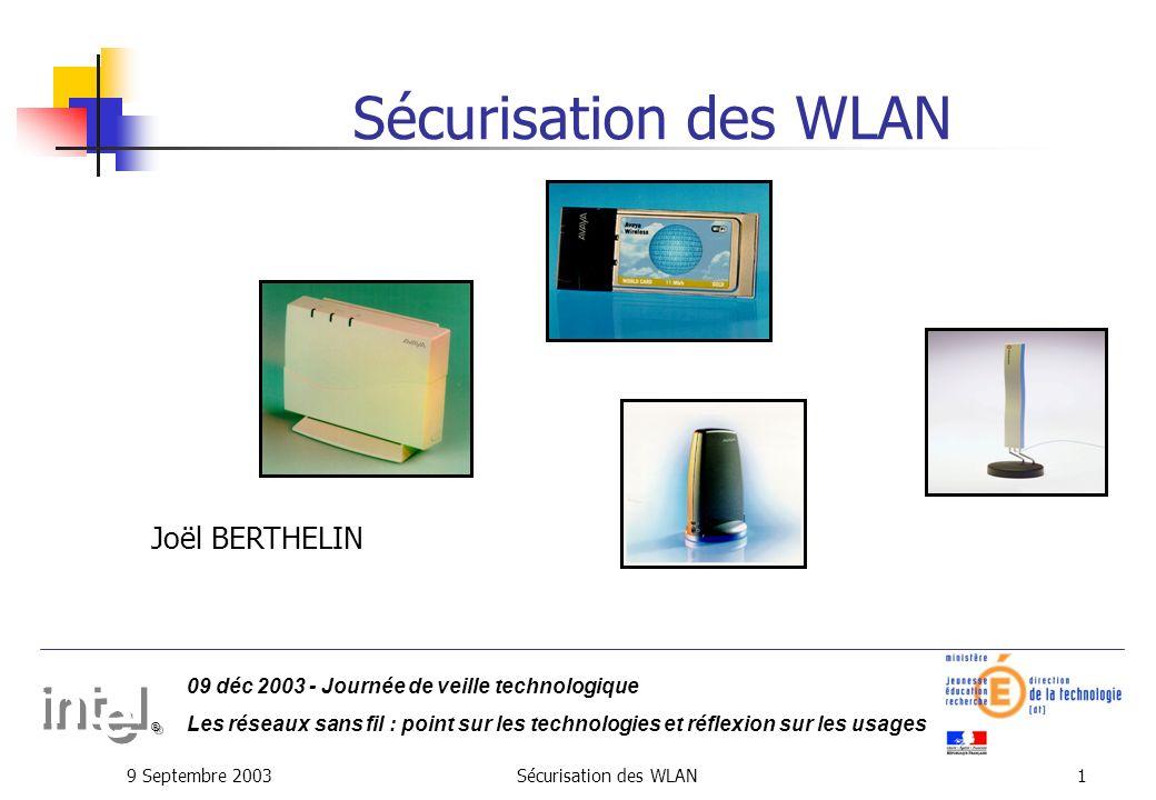 9 Septembre 2003Sécurisation des WLAN11 Les attaques : Intrusion sur le réseau Réseau Entreprise Point daccès sauvage