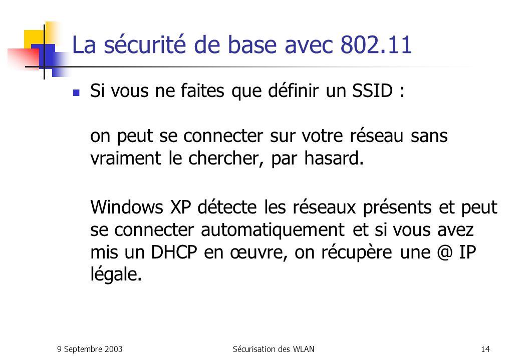 9 Septembre 2003Sécurisation des WLAN13 Lauthentification par le SSID Le SSID (Service Set Identifier): Le client et le point daccès doivent avoir le même SSID pour sassocier.