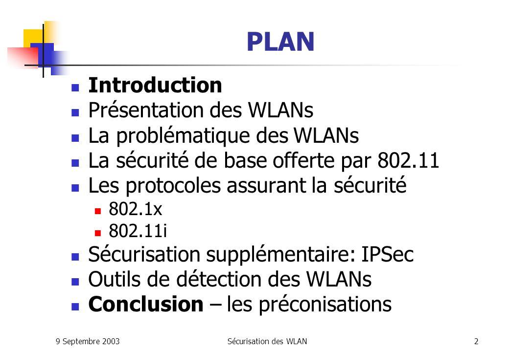 9 Septembre 2003Sécurisation des WLAN32 802.1x: Les solutions actuelles MeetingHouse Serveur Radius (Aegis) Client EAP-TLS, PEAP, EAP-MD5, LEAP, EAP-TTLS pour toutes les plate-formes Avantages : Grande diversité des protocoles supportés Interface simple et bon support technique Déja déployé à grande échelle dans des université américaines Permet d utiliser LEAP avec des cartes non-Cisco Inconvénients : Solution payante