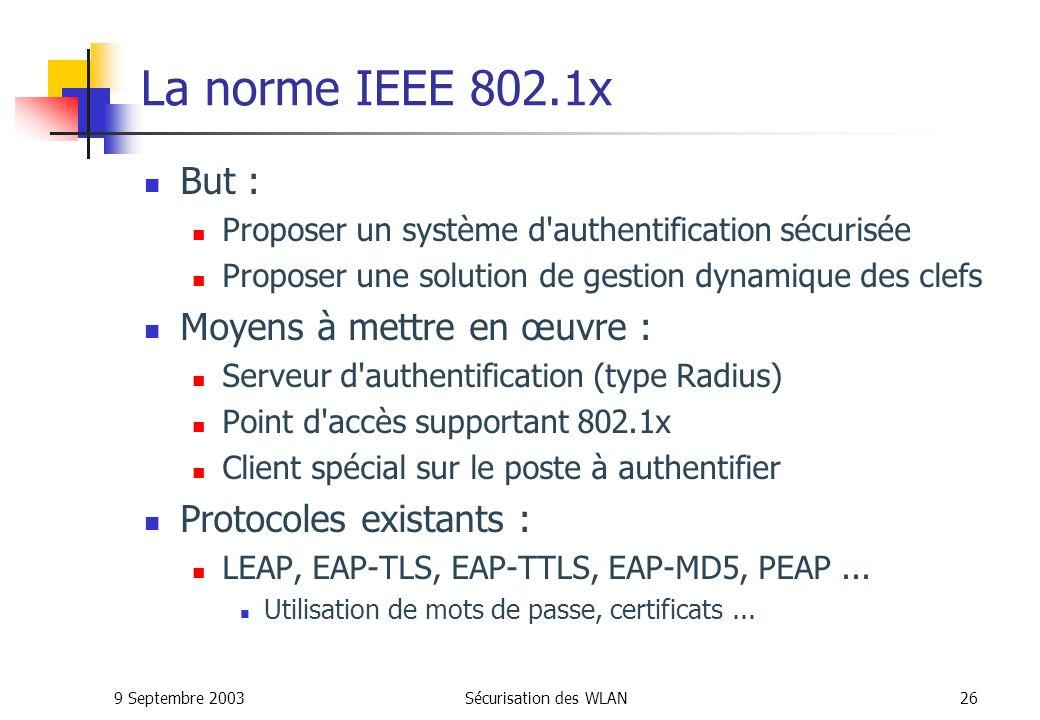 9 Septembre 2003Sécurisation des WLAN25 La sécurité WLAN avec le 802.1x Pour palier aux lacunes de sécurité du 802.11, lIEEE propose 802.1x qui est une architecture basée sur EAP (Extensible Authentication Protocol).