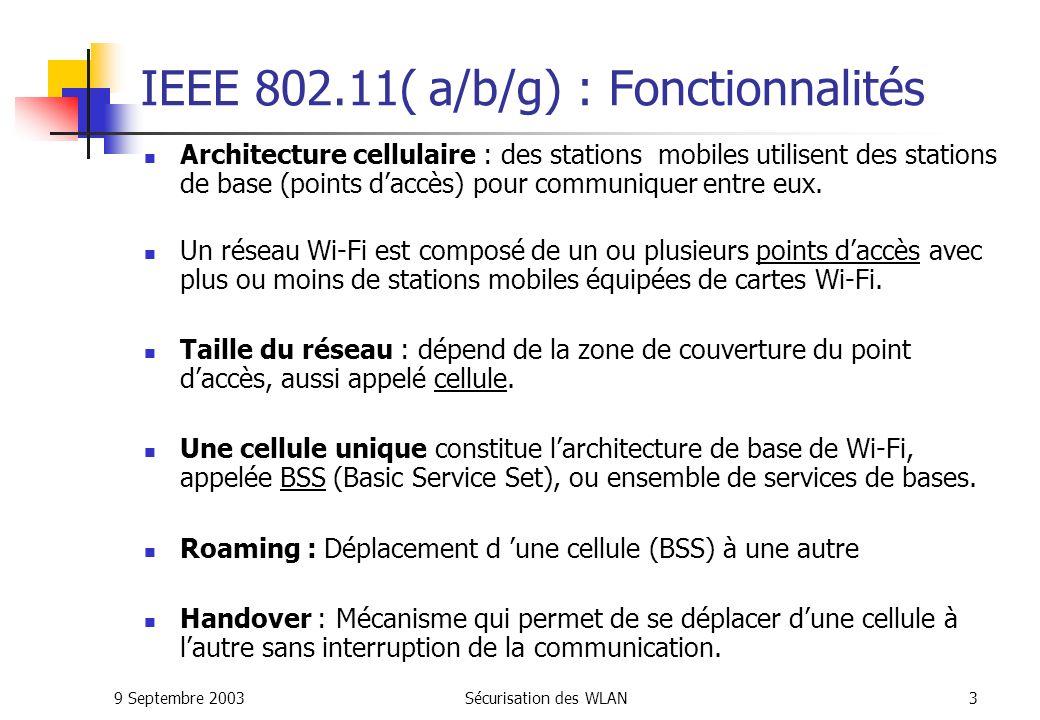 9 Septembre 2003Sécurisation des WLAN33 802.1x: Les solutions actuelles Open Source Freeradius Xsupplicant (client d authentification pour Linux) Avantages : Gratuit Support et évolution assurés par une grande communauté d utilisateurs Inconvénients : Encore en phase de développement Remarque : Windows XP intègre 802.1x nativement