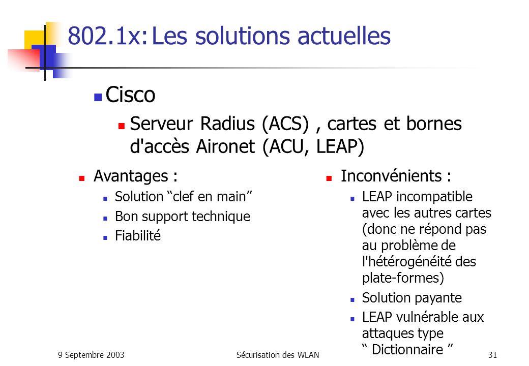 9 Septembre 2003Sécurisation des WLAN30 802.1x: Déploiement sécurisé Problématique Gérer l hétérogénéité des plate-formes PC, Mac...