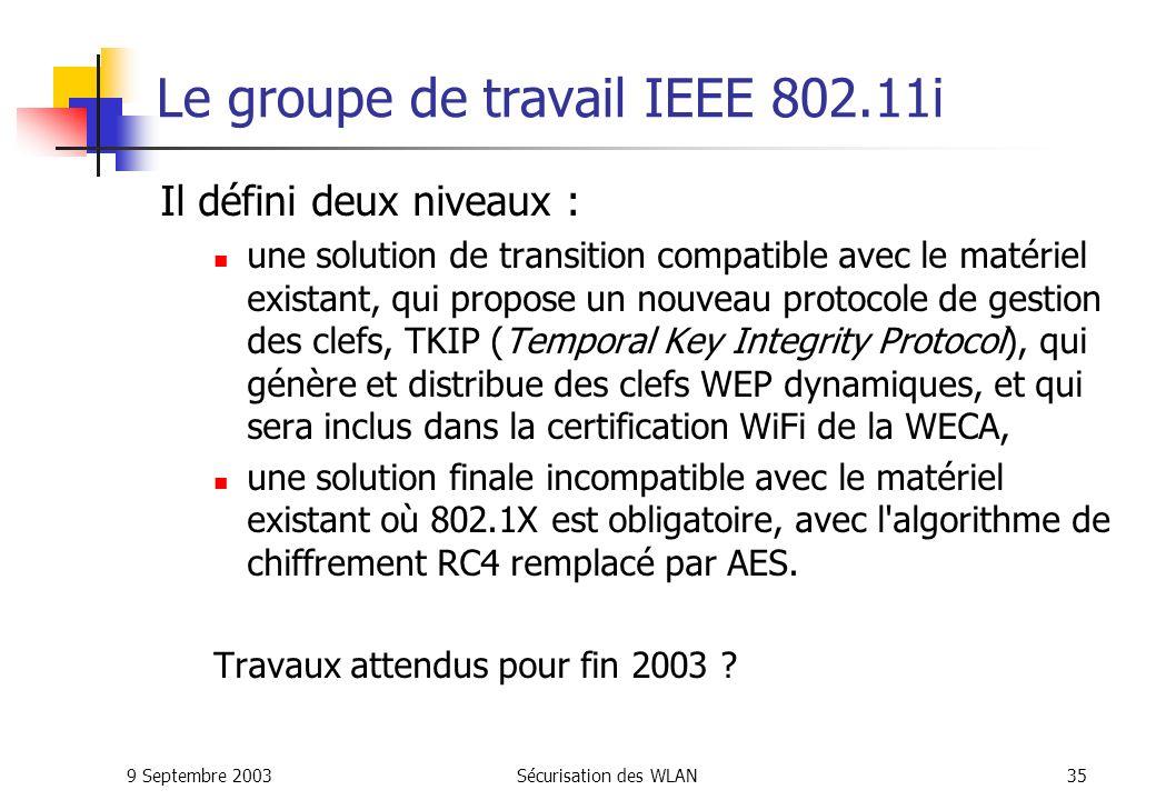9 Septembre 2003Sécurisation des WLAN34 Conclusion sur 802.1x 802.1x propose un meilleur niveau de sécurité mais : Des problèmes d incompatibilité matérielle et logicielle.