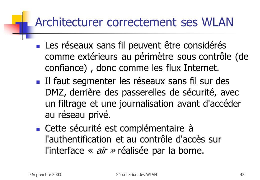 9 Septembre 2003Sécurisation des WLAN41 IPSec – VPN : Conclusion IPsec est à ce jour le protocole le plus utilisé dans les VPNs.