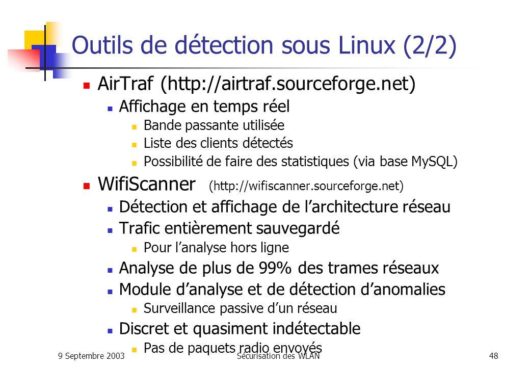 9 Septembre 2003Sécurisation des WLAN47 Outils de détection sous Linux (1/2) Kismet (outil d audit) Données en temps réel Signal de réception pour géolocalisation Sauvegarde du trafic pour étude plus poussée Affichage du type de client Découverte de SSID Détection d anomalies et de pièges à Wardrive