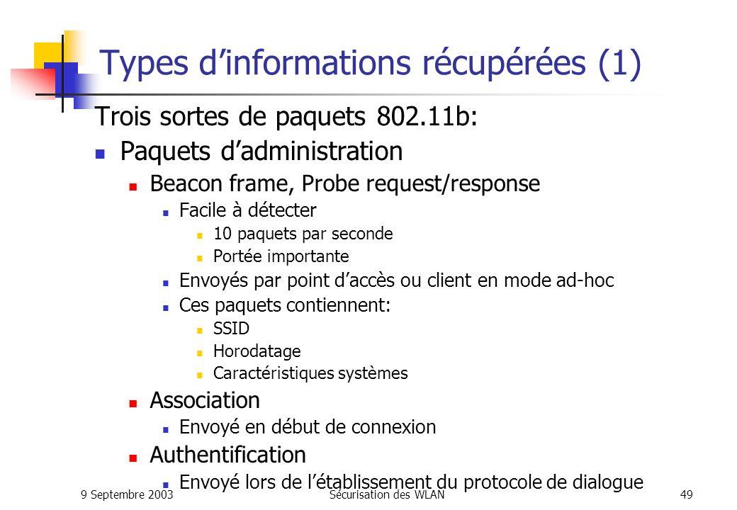 9 Septembre 2003Sécurisation des WLAN48 Outils de détection sous Linux (2/2) AirTraf (http://airtraf.sourceforge.net) Affichage en temps réel Bande passante utilisée Liste des clients détectés Possibilité de faire des statistiques (via base MySQL) WifiScanner (http://wifiscanner.sourceforge.net) Détection et affichage de larchitecture réseau Trafic entièrement sauvegardé Pour lanalyse hors ligne Analyse de plus de 99% des trames réseaux Module danalyse et de détection danomalies Surveillance passive dun réseau Discret et quasiment indétectable Pas de paquets radio envoyés