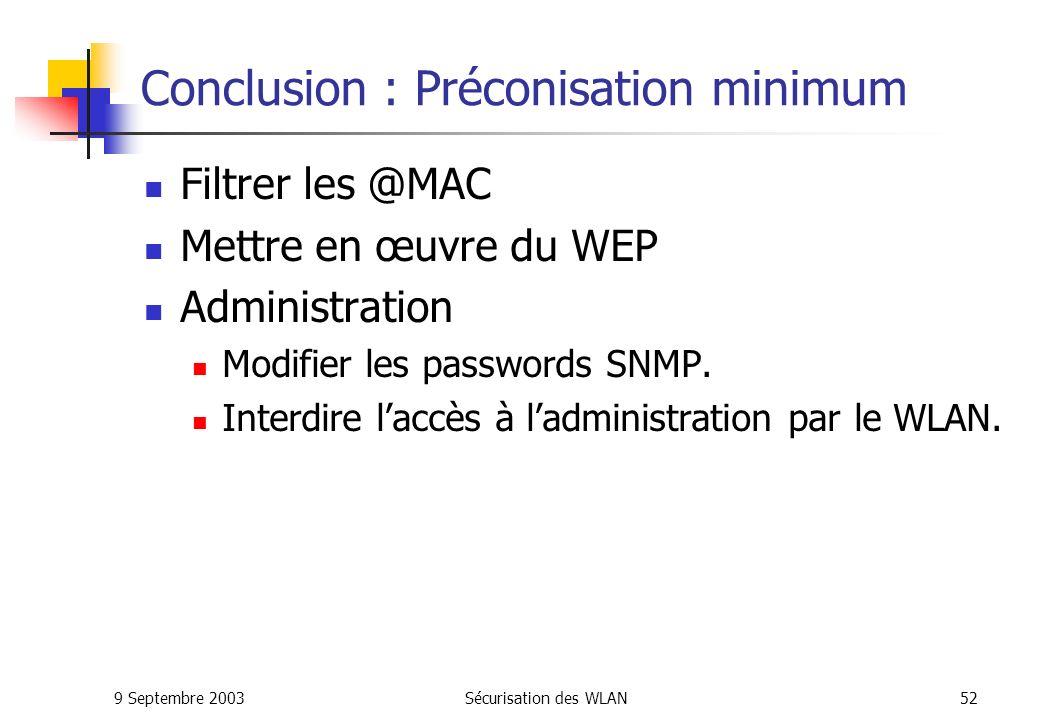 9 Septembre 2003Sécurisation des WLAN51 Conclusion : Préconisation minimum Points daccès Placer les points daccès le plus loin possible des murs et fenêtres donnant sur lextérieur.