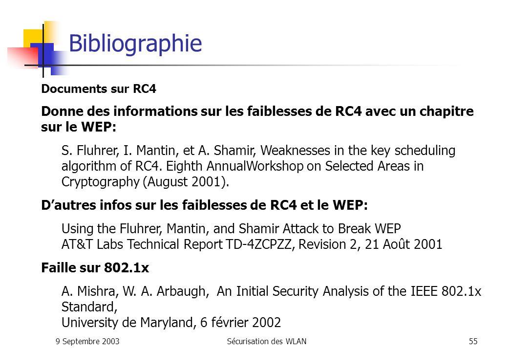 9 Septembre 2003Sécurisation des WLAN54 Bibliographie Livre généraliste sur 802.11 Wi-Fi par la pratique de Davor Males et Guy Pujolle aux editions EYROLLES 802.11 et les réseaux sans fil de Paul Mühlethaler aux éditions EYROLLES 802.11 Wireless Network Definitive Guide de Matthew S.