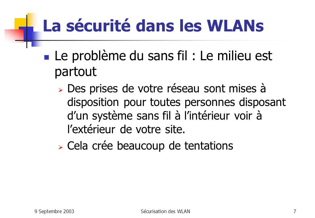 9 Septembre 2003Sécurisation des WLAN7 La sécurité dans les WLANs Le problème du sans fil : Le milieu est partout Des prises de votre réseau sont mises à disposition pour toutes personnes disposant dun système sans fil à lintérieur voir à lextérieur de votre site.