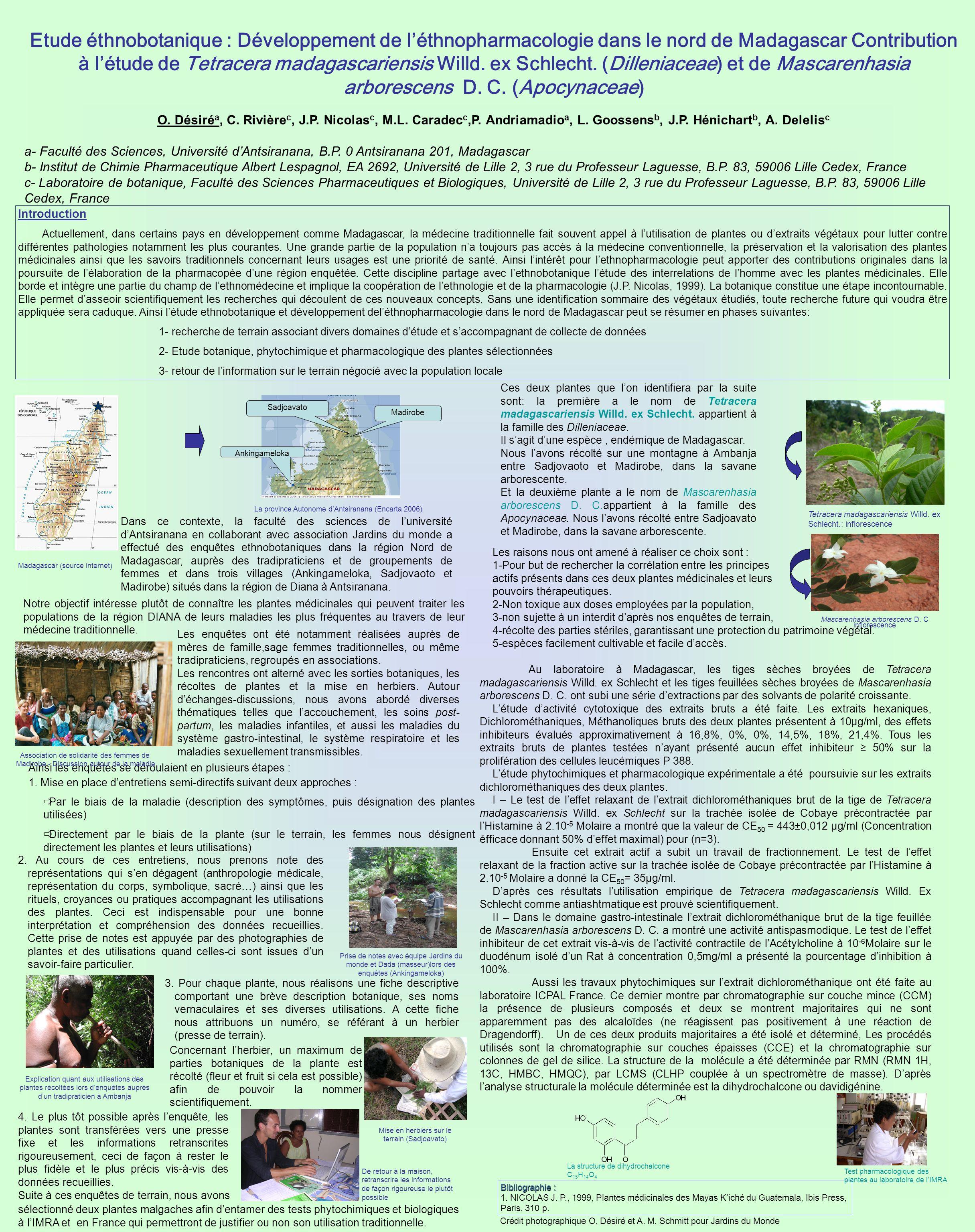 Etude éthnobotanique : Développement de léthnopharmacologie dans le nord de Madagascar Contribution à létude de Tetracera madagascariensis Willd.