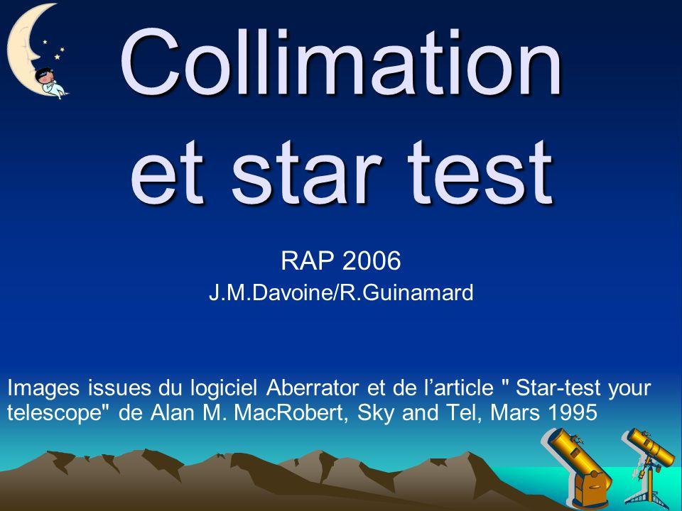 Collimation et star test RAP 2006 J.M.Davoine/R.Guinamard Images issues du logiciel Aberrator et de larticle Star-test your telescope de Alan M.