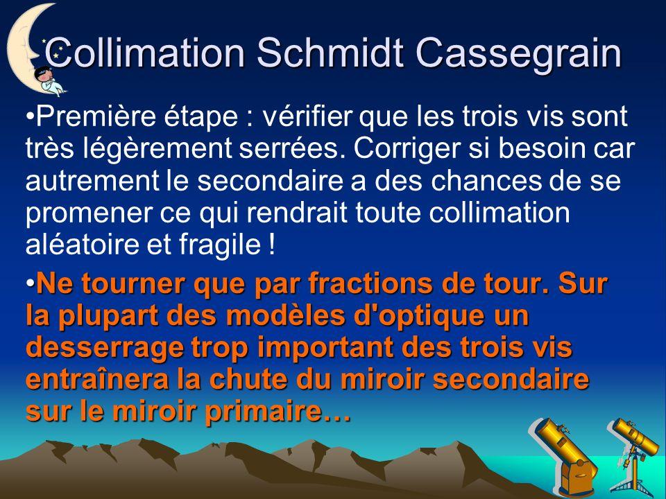 Collimation Schmidt Cassegrain Première étape : vérifier que les trois vis sont très légèrement serrées.