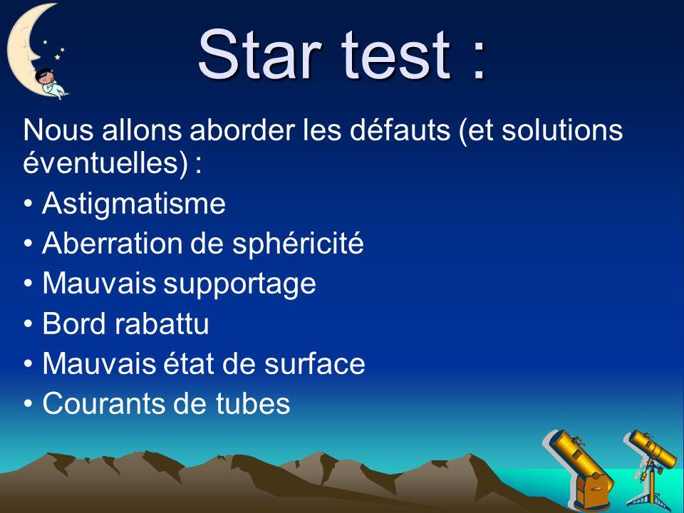 Star test : Nous allons aborder les défauts (et solutions éventuelles) : Astigmatisme Aberration de sphéricité Mauvais supportage Bord rabattu Mauvais état de surface Courants de tubes