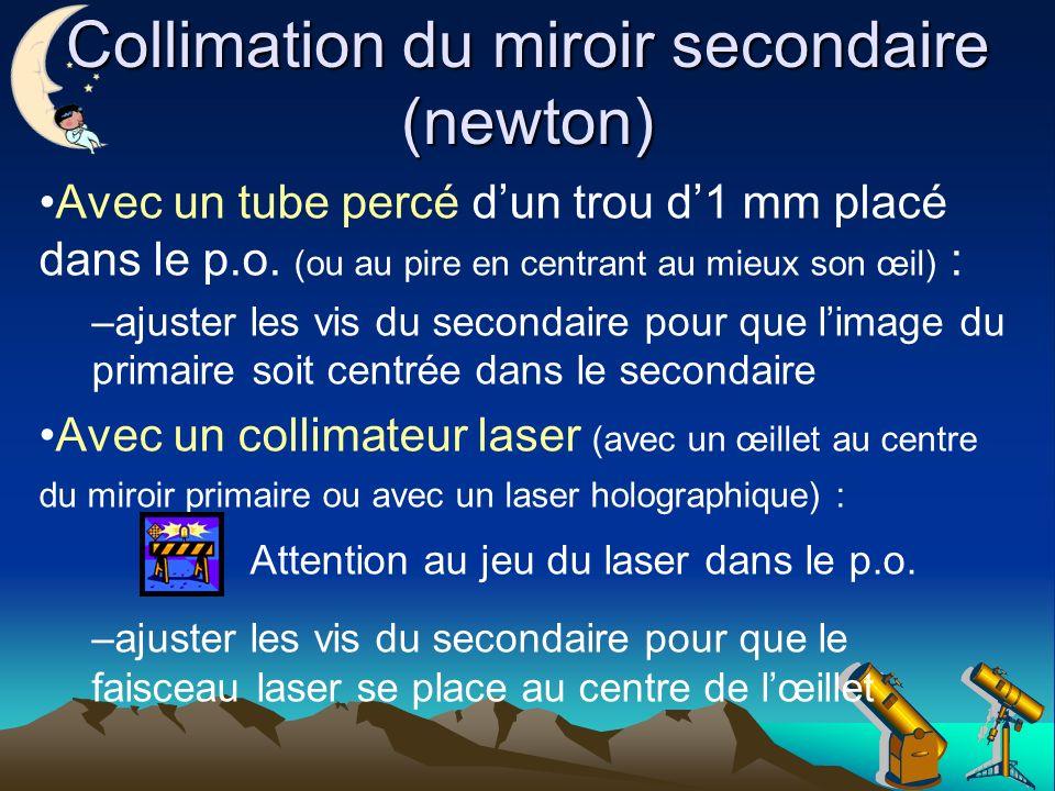 Collimation du miroir secondaire (newton) Avec un tube percé dun trou d1 mm placé dans le p.o.