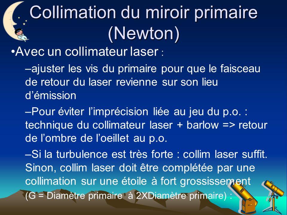 Collimation du miroir primaire (Newton) Avec un collimateur laser : –ajuster les vis du primaire pour que le faisceau de retour du laser revienne sur son lieu démission –Pour éviter limprécision liée au jeu du p.o.