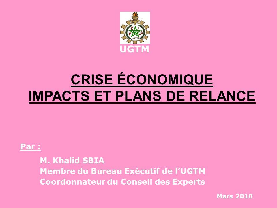 UGTM CRISE ÉCONOMIQUE IMPACTS ET PLANS DE RELANCE Par : M. Khalid SBIA Membre du Bureau Exécutif de lUGTM Coordonnateur du Conseil des Experts Mars 20