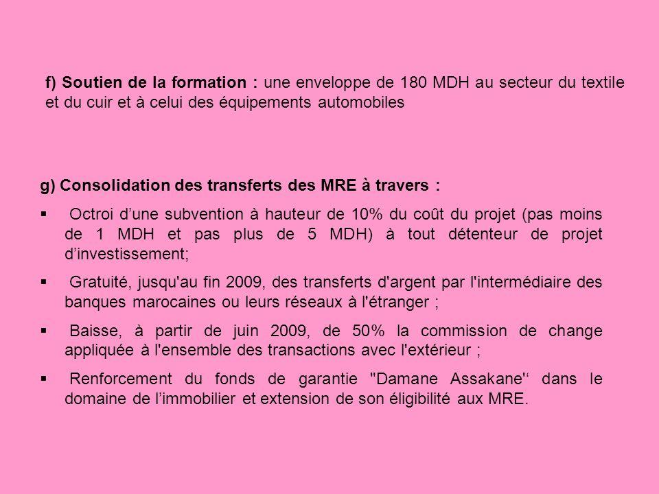 g) Consolidation des transferts des MRE à travers : Octroi dune subvention à hauteur de 10% du coût du projet (pas moins de 1 MDH et pas plus de 5 MDH