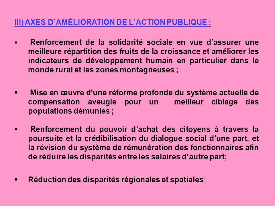 III) AXES DAMÉLIORATION DE LACTION PUBLIQUE : Renforcement de la solidarité sociale en vue dassurer une meilleure répartition des fruits de la croissa