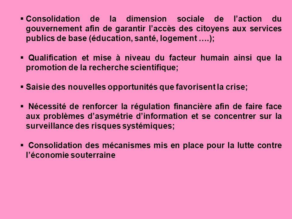 Consolidation de la dimension sociale de laction du gouvernement afin de garantir laccès des citoyens aux services publics de base (éducation, santé,