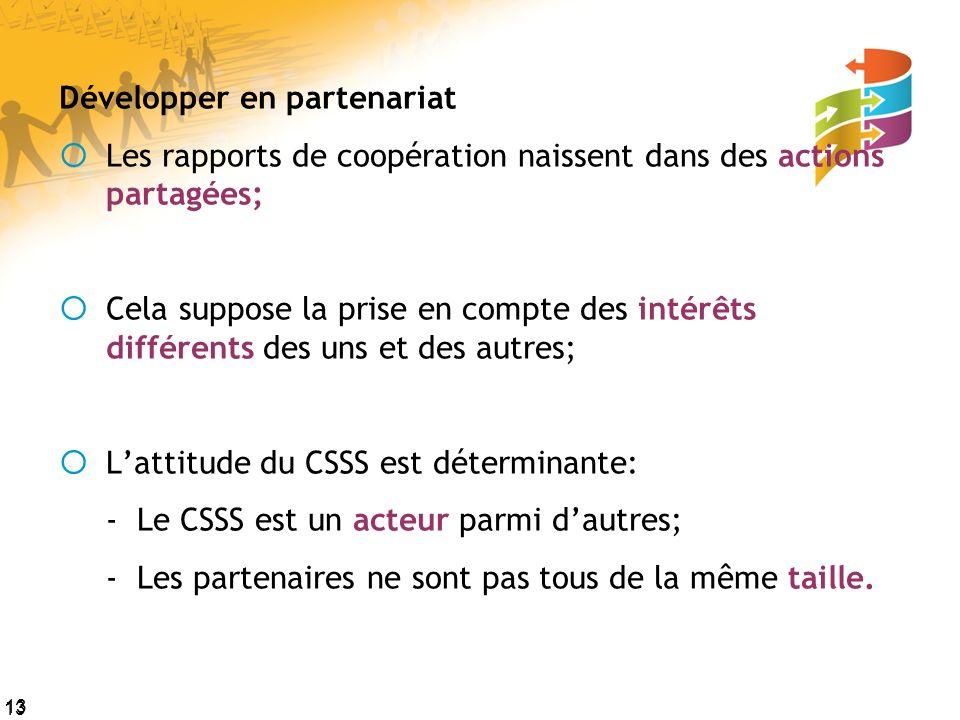 13 Développer en partenariat Les rapports de coopération naissent dans des actions partagées; Cela suppose la prise en compte des intérêts différents des uns et des autres; Lattitude du CSSS est déterminante: - Le CSSS est un acteur parmi dautres; - Les partenaires ne sont pas tous de la même taille.