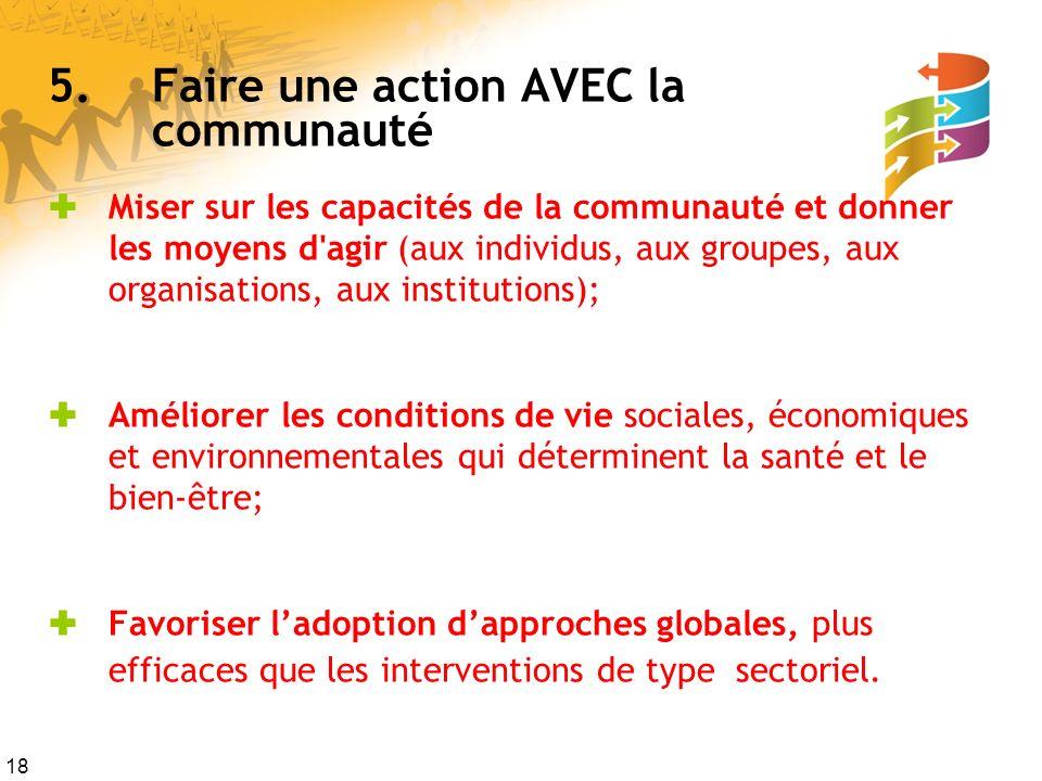 18 5.Faire une action AVEC la communauté Miser sur les capacités de la communauté et donner les moyens d'agir (aux individus, aux groupes, aux organis