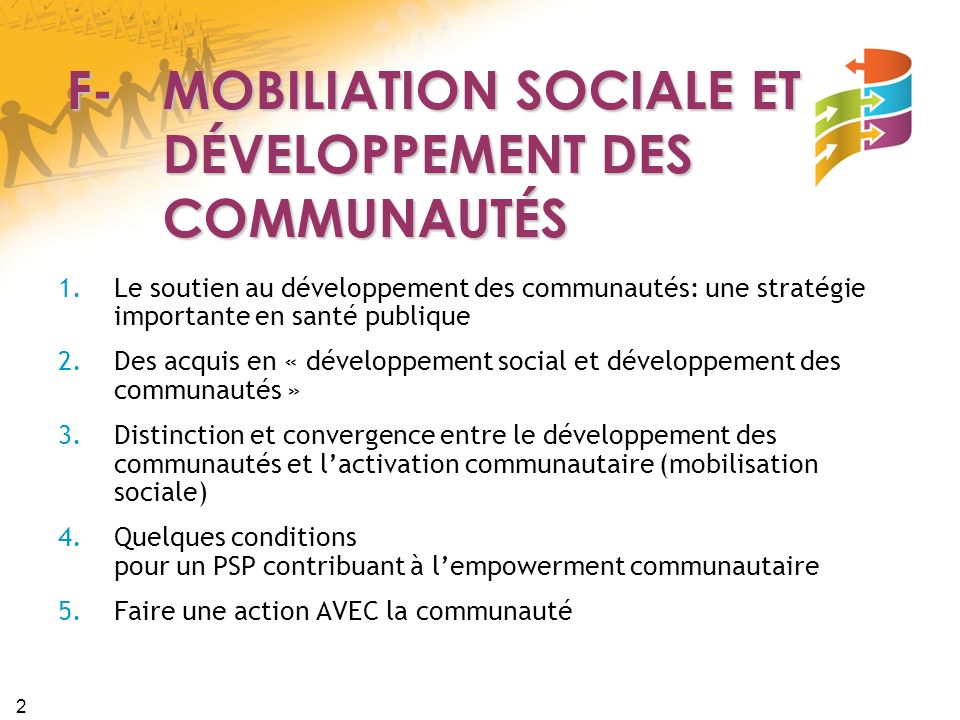 2 F- MOBILIATION SOCIALE ET DÉVELOPPEMENT DES COMMUNAUTÉS 1.Le soutien au développement des communautés: une stratégie importante en santé publique 2.