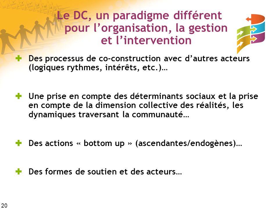 20 Le DC, un paradigme différent pour lorganisation, la gestion et lintervention Des processus de co-construction avec dautres acteurs (logiques rythm